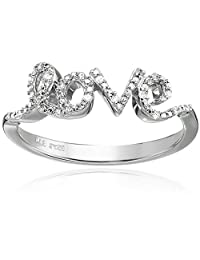 """Sterling Silver and Diamond Accent """"Love"""" Ring"""
