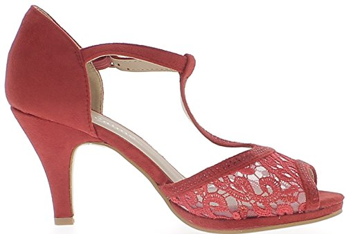 Red Open Pumps with 8.5 cm Heel and Small Chainring Aspect Suede and Strass 0L1u64