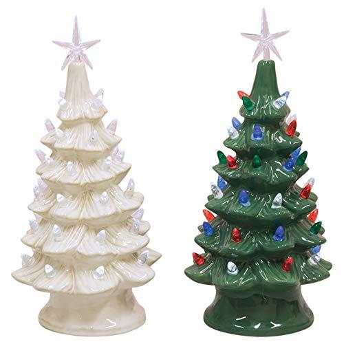 Hanna's Handiworks Holiday Tree Lights Green Cream 14 x 7 Ceramic Christmas Figurines Set of 2