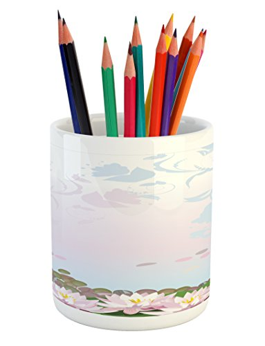 Cheap  Zen Garden Pencil Pen Holder by Ambesonne, Water Lilies Pattern with Asian..