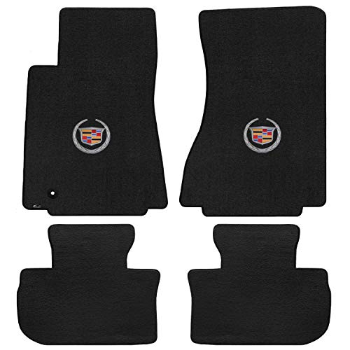 Lloyd Mats LogoMat Custom Floor Mats - Cadillac CTS 2WD Sedan/Wagon 2008-2013 4Pc Front & Back Set Carpeted Custom Fit Mats Charcoal (Dark Gray) ()