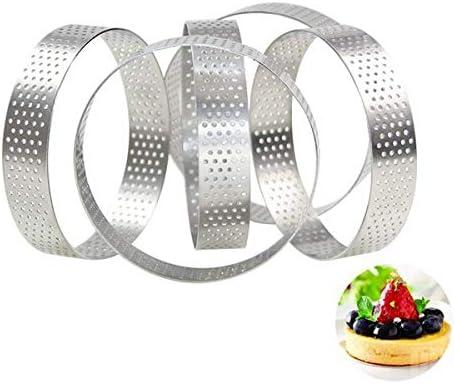 Jaimenalin Circular Steel Porous Tart Ring Bottom Tower Pie Cake Mould Baking ToolsHeat-Resistant Perforated Cake Mousse Ring 8cm