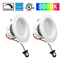 Yunsun 4 Inch Dimmable LED Downlight, UL & Energy Star Listed, 11W CRI90+ (75W Equivalent), 5000K Cool White, 900-1050 Lm, Retrofit LED to Recessed Lighting Fixture, LED Ceiling Light, 2-Pack