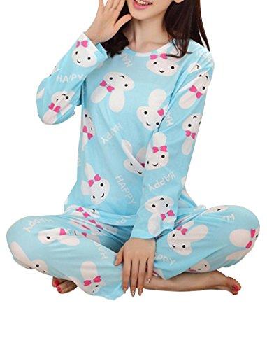 VENTELAN Women's Cute Rabbits Printed Pajama Sets Long Sleeve Sleepwear (Cute Womens Onesies)