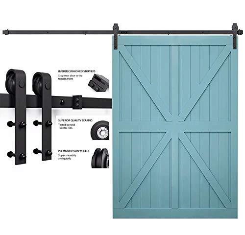 (PeggyHD 10FT Single Barn Door Hardware Track Kit Sliding Wood Door Wall Mount Bent J Shape Roller (1 x Door Set))