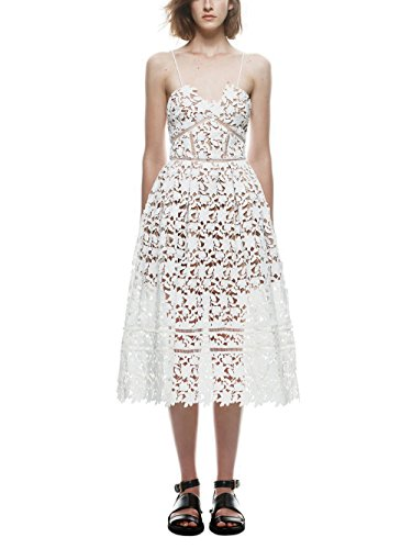 Crochet Inset Skirt (GOSOPIN Women A Line Lace V-Neck Cocktail Party Midi Skirt Spaghetti Strap Dress X-Large White)