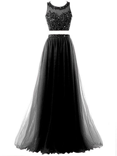 Vestito Due Donne Delle Da Abito Di Solovedress Formale Perline Nero Promenade Sera Tulle Lungo Pezzi wwqSEXCWg