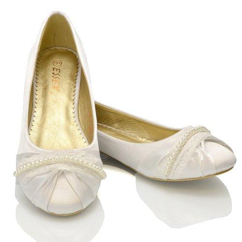 Tacco Satinato Senza Perle Matrimonio ESSEX GLAM Ballerina Bianco Lacci Donna Scarpa Satinato Sx8wq7t