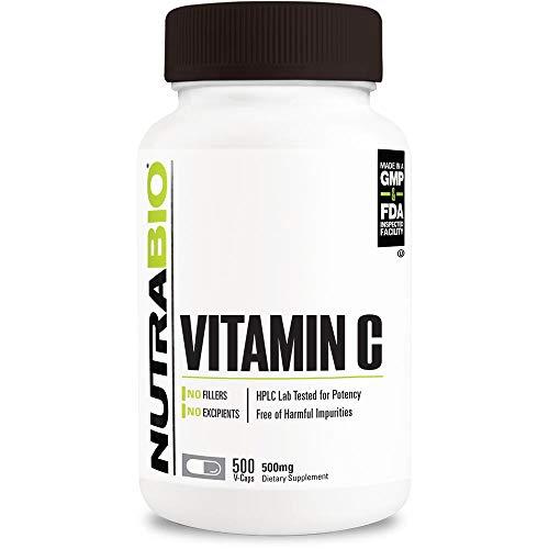 NutraBio Vitamin C Capsules (500 Capsules, 500mg Serving Size)