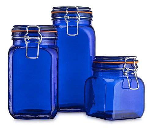 Airtight Blue colored Glass Canister Hermetic Seal Bail & Trigger /Jar with Lidx2022; Use As Tea - Coffee - Sugar Canisterx2022; Wide Mouth / Square Shape / Set of (Hermetic Glass Jars)