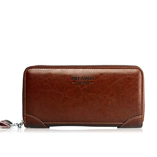 - TONGBOSHI Men's Vintage Genuine Leather Long Wallets Bifold Wallet , Leather RFID Blocking Bifold Wallet with Zipper, Best Gift (Color : Coffee)