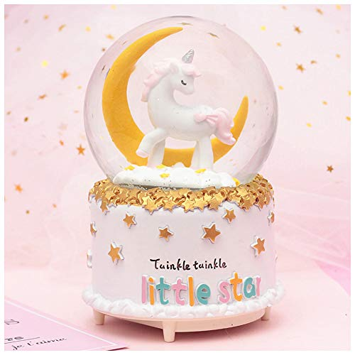 - HIKEL Lovely Music Box Snow Globes Unicorn Moon and Stars Base Water Globe with Led Light for Birthday Gifts Childrens Girls Gift Holiday Day