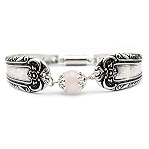 Glazed Black Cherry Chic – Flower Spoon Bangle with Pink Bead Accent Bracelet – Steampunk – Fantasy – SP5