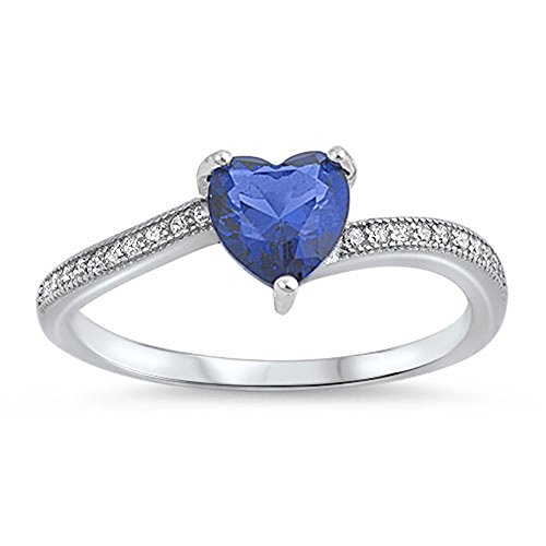 Heart Promise Ring - Blue Simulated Sapphire Heart Promise Ring New .925 Sterling Silver Band Size 12