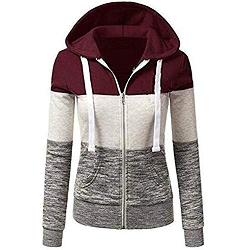 Newbestyle Womens Casual Color Block Jersey Full Zip Fleece Hoodie Jacket with Pocket Red and Gray Medium