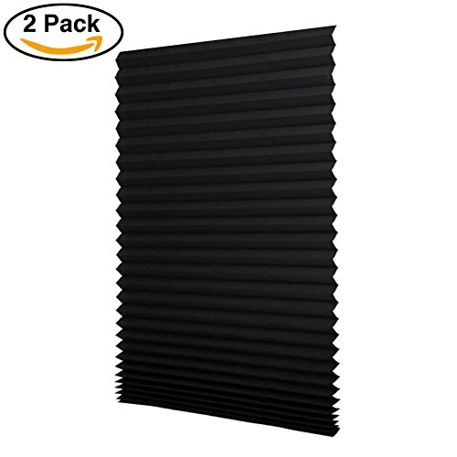 Sunfree 2 Pack Light Filtering Pleated Fabric Shade, Quick Fix and Easy to Install, with 4 Clips (48