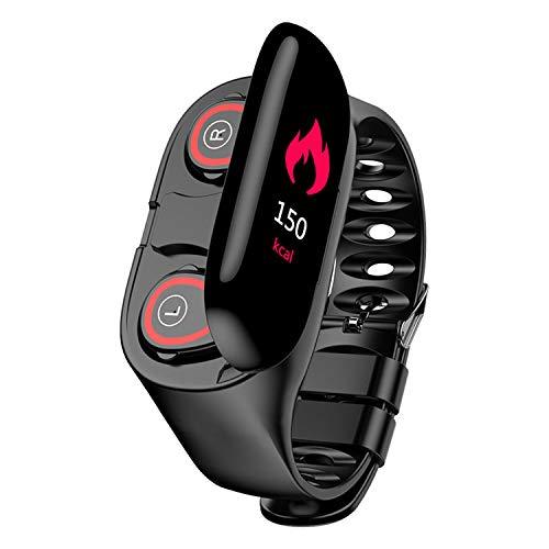 HQHOME 2 in 1 Smartwatch mit Kabellosen Bluetooth Kopfhörer, Fitness Armband Wasserdicht, Fitness Uhr mit Ersatzarmband…