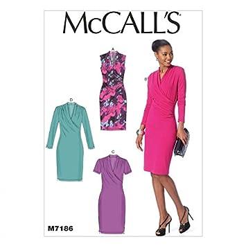 McCall \'s 7186 Schnittmuster Damen Geraffte Schulter Kleider + ...