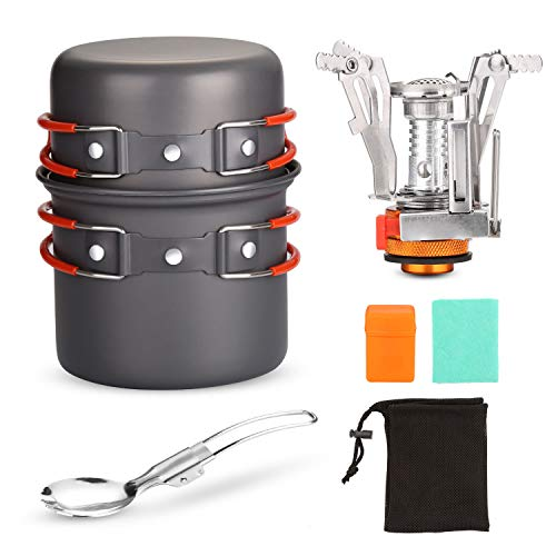 Odoland 6pcs Camping Cookware Mess Kit with Lightweight Pot, Stove, Spork and Carry Mesh Bag, Great for Backpacking Outdoor Camping Hiking and Picnic (Cooking Backpack Stove)