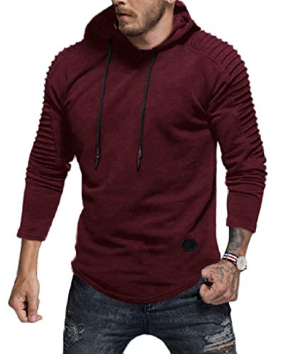 - Fenxxxl Mens Outfits Big and Tall Warm Fleece Slim Hoodies T-Shirt Jersey Storm Pullover Sweatshirt F124 Burgundy S
