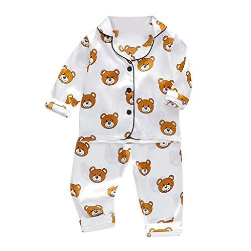 iNoDoZ Toddler Baby Boys Long Sleeve Cartoon Bear Tops+Pants Pajamas Sleepwear Outfits (130, White)