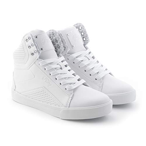 - Pastry Pop Tart Grid Adult Dance Sneakers, White, Size 7