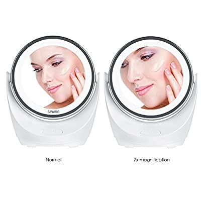 Spaire Vanity Makeup Mirror LED Light 7X/1X Magnifying 360° Rotation Battery Operated Double-Sided Travel Mirror for Beauty, Skin Care