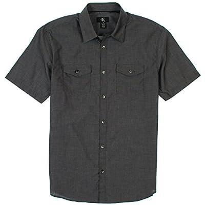 Calvin Klein Mens Short Sleeve Button Up Shirt