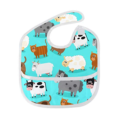 My Little Nest Farm Animals Soft Washable Baby Bib for Baby Boys Girls 6-24 Months