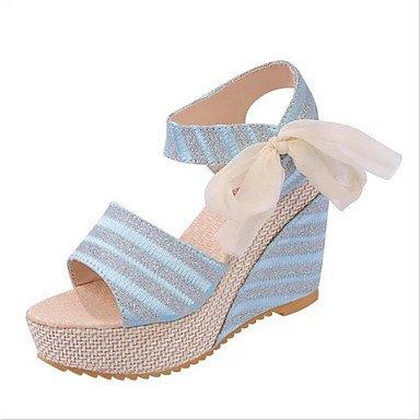 LvYuan Mujer-Tacón Cuña-Confort Zapatos del club-Sandalias-Oficina y Trabajo Vestido Informal-PU-Negro Azul Blanco Beige beige