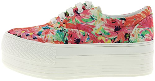 Platform Maxstar Blossom Boat Shoes Red Casual Holes Low 5 Sneakers Top C50 PrYOwP