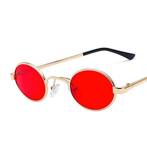 Aoligei Lunettes Retro ultra petit cadre ovale lunettes de soleil hommes et femmes de personnalité en général métal Ocean Film lunettes de soleil de couleur F