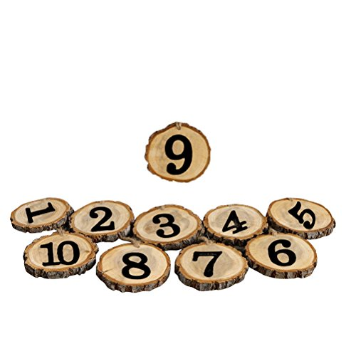 LUOEM 10pcs 1-10 Wedding Table Numbers Hanging Wood Slice Wedding Table Centerpieces for Arts Crafts Wall Decor Wedding DIY Projects]()