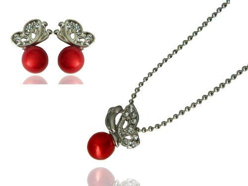 Klaritta élégant & & délicat Rouge Ton Argent Perles-Papillons-Parure Collier Boucles d'oreilles clous S181R