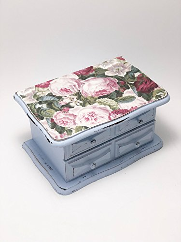 Shabby Chic Pale Blue Distressed Painted Jewelry Box, Jewelry Chest, Jewelry Storage, ()