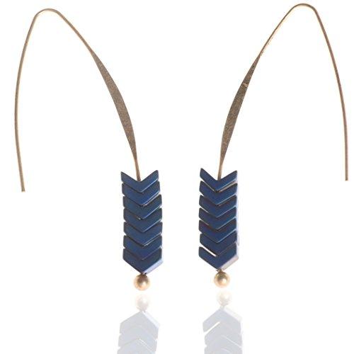 Bridalvenus Earrings Pair Vintage Simple Ear Drop for Women and Girls (blue)