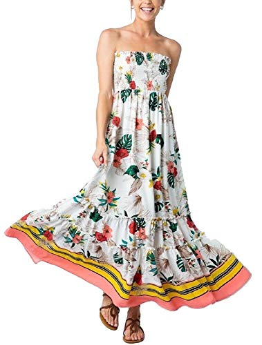 Back Tie Strapless Dress - RBBK Women's Tropical Print Off Shoulder Back Bow Smocked Maxi Dress (Large)