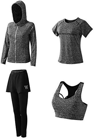レディースジャージ上下セット セクシーなプリント4ピーススポーツ衣装半袖シャツボディコンロングパンツジョガートラックスーツスポーツウェアセット (Color : Dark gray, Size : XL)