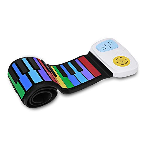 Camiter Rainbow Roll Up Piano, Electronic Keyboard, Flexible, Portable, Play by Color, 49 Standard Keys with Built-in Speaker, Educational Toy for Beginner, for Children (Roll Up Piano)