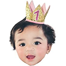 """Gold Pink """"1"""" Baby Girls Mini Birthday Crown Headband Cake Smash Party Pictures"""