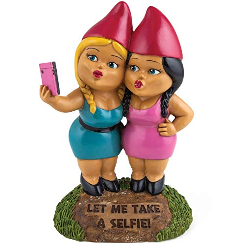 BigMouth Inc. The Selfie Sisters Garden Gnome, 9-inch Tall Funny Lawn Gnome Statue, Weatherproof Garden Decoration ()