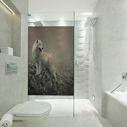 Frosted Glass Film 3D Static Cling Window Film,White Wolf on Rocks at The Night Hazy Misty Weather Wildlife Nature Scenery Print Decorative,Customizable Size,Suitable for Bathroom,Door,Glass etc,Warm