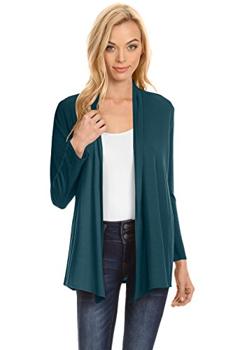 Simlu Womens Open Drape Cardigan reg and Plus Size Cardigan Sweater Long Sleeves - USA Teal Large ()
