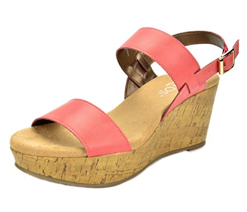 TOETOS SANDRO-01 New Women's Casual Open Toes Mid Heels Platform Wedges Summer Sandals CORAL SIZE 11