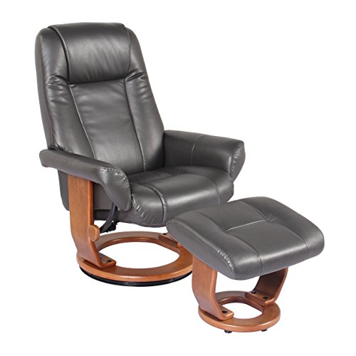 - Starline Windsor Soft Touch Synthetic Leather Swivel Chair Recliner & Ottoman Lounger by Jerry Sales (Charcoal)