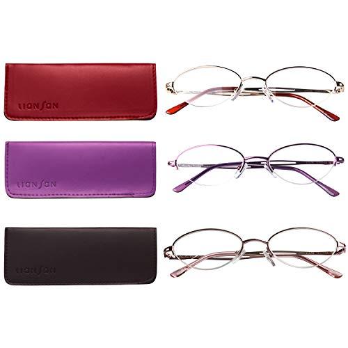 Liansan 3 Pairs Quality Ladies' Readers Metal Half Frame Reading Glasses for Women L731(+2.75)