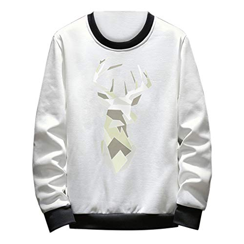 ng-Sleeved Printed Sweatshirt Round-Necked Guard Personality Pullover Blouse(2-White,XXL) ()