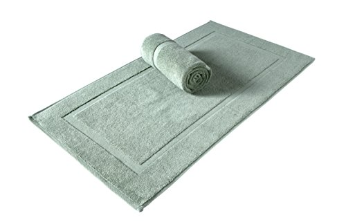 SALBAKOS Luxury Hotel and Spa 100% Turkish Cotton Banded Panel Bath Mat Set 900gsm! 20x34 (Green, 2 Pack)