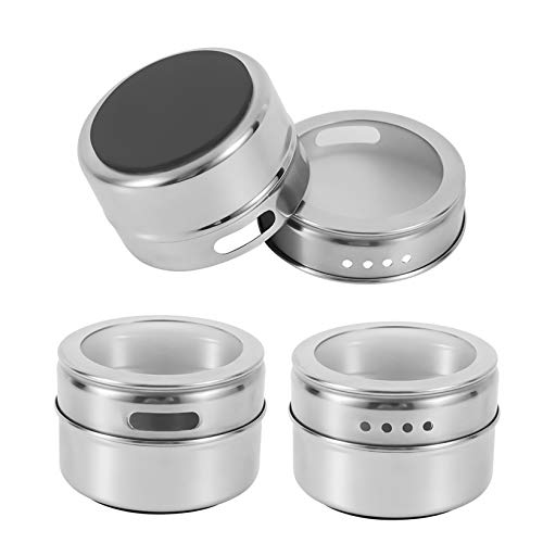 HEFANTU 12 Magnetic Spice Tins with Spice Racks Wall Mount & 120 Spice Labels, Storage Magnet Spice Containers, Clear Lid with Sift and Pour(Spices Not Included)(silver)