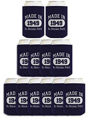 (70th Birthday Gift Coolie Made 1949 Can Coolers Coolies 12 Pack Navy)